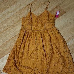 Mustard Gold Lace Dress